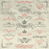Vintage Hand Drawn Swirls and Crowns on Crumpled Stock Photos