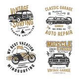 Vintage hand drawn tee prints set. Surf print design, old garage, car service, auto repair emblems patches. Summer t Royalty Free Stock Images