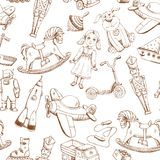 Vintage hand drawn toys pattern Royalty Free Stock Image