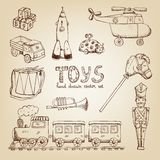 Vintage hand drawn toys Stock Images
