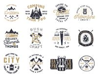 Vintage hand drawn travel badge and emblem set. Hiking labels. Outdoor adventure inspirational logos. Typography retro. Style. Motivational quotes for prints, t Stock Images