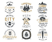 Vintage hand drawn travel badge and emblem set. Hiking labels. Outdoor adventure inspirational logos. Typography retro Royalty Free Stock Images