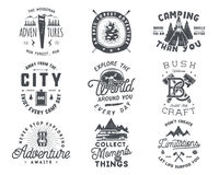 Vintage hand drawn travel badge and emblem set. Hiking labels. Outdoor adventure inspirational logos. Typography retro. Style. Motivational quotes for prints, t Royalty Free Stock Photos