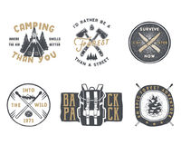 Vintage hand drawn travel badge and emblem set. Hiking labels. Outdoor adventure inspirational logos.Typography retro Stock Image