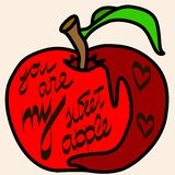 Apple. Vintage hand drawn vector illustration with an apple and hand lettering.Quote `You are my sweet apple Royalty Free Stock Photography