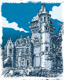 Vintage Hand Drawn View of Old Castle in Belgium Royalty Free Stock Photos