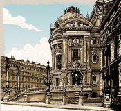 Vintage Hand Drawn View of Opera in Paris Stock Images