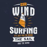 Vintage hand drawn windsurfing, kitesurfing tee graphic design. Summer travel t shirt. poster concept with retro royalty free illustration