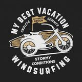 Vintage hand drawn windsurfing, surfing tee graphic design. Summer travel t shirt. poster concept with retro surfboard. And motorcycle. Surfing tee design vector illustration