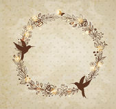 Vintage hand drawn wreath of flowers Royalty Free Stock Images