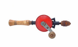 Vintage hand drill isolated over white background Stock Photos