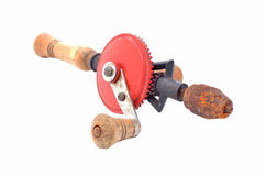 Vintage hand drill isolated over white background Royalty Free Stock Images