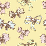Vintage hand-drown bow pattern Stock Photos