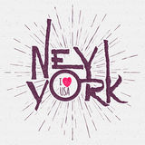 Vintage Hand lettered textured New York city t Royalty Free Stock Photography
