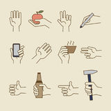 Vintage hand line icons with bottle, cup. Vintage hand line icons with apple, bottle, cup. Vector illustration Royalty Free Stock Images
