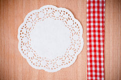 Hand-made background with white napkin Royalty Free Stock Photos