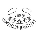 Vintage hand made jewellery logo, outline style. Vintage hand made jewellery logo. Outline illustration of vintage hand made jewellery vector logo for web design vector illustration