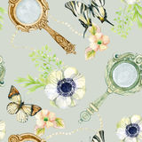 Vintage hand mirror with flowers and butterfly. Mirrors, butterfly and flowers seamless pattern. Vintage hand mirror with flowers and butterfly. Old fashioned Royalty Free Stock Photography