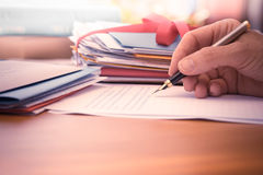 Vintage Hand with Pen Writing a Letter Royalty Free Stock Photo