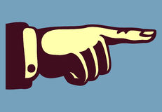 Vintage hand with pointing finger. Retro illustration, good for banners, labels and 50s styled ads stock illustration