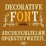 Vintage hand written vector font. Hand drawn decorative vintage vector ABC letters . Nice font for your design Royalty Free Stock Image