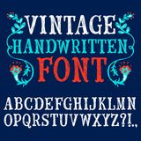 Vintage hand written vector font. Hand drawn decorative vintage textured vector ABC letters on blue background.Nice font for your design royalty free illustration