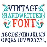 Vintage hand written vector font. Hand drawn decorative vintage textured vector ABC letters.Nice font for your design stock illustration