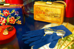 Vintage handbags, gloves, jewelry amber, glasses. Stock Image