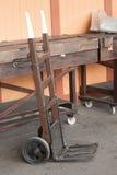 Vintage handcart. Vintage wooden handcart on a railroad platform Royalty Free Stock Photo