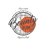 Vintage handcrafted label, emblem with old barrel and vector sign - bounty rum. Sketching filled style. Retro design. For advertising, tee, t shirt prints Stock Photos