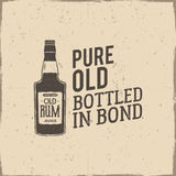 Vintage handcrafted label, emblem with old rum bottle and vector slogan - pure old bottled in bond. Sketching filled. Style. Typography design for advertising Royalty Free Stock Image