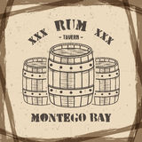 Vintage handcrafted poster template with old barrels and vector sign - rum, montego bay. Sketching filled style. Retro Stock Images