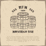 Vintage handcrafted poster template with old barrels and vector sign - rum, montego bay. Sketching filled style. Retro Stock Photos