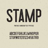 Vintage handcrafted typeface with stamp effect. vector illustration. Vintage handcrafted typeface with stamp effect. retro font. grunge letters on textured stock illustration