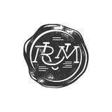 Vintage handcrafted wax seal template with monogram Rum. Use as pirate emblem, label, logo. Isolated on white background. Sketching filled style. Vector Royalty Free Stock Images