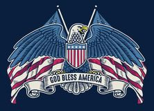 Vintage handdrawn american eagle with flag as background stock image