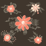 Vintage handdrawn floral Stock Photography