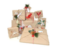 Vintage handmade craft christmas or new year 2016 rustic present Stock Images