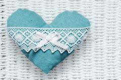 Vintage handmade plush turquoise heart Royalty Free Stock Photography
