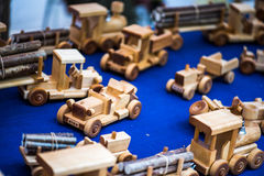 Vintage handmade wooden toys royalty free stock photos