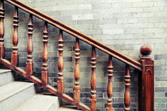 Vintage handrail and banisters of staircase, balusters of stairway Stock Photos