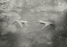 Vintage hands. Two hands that trying to touch in black and white royalty free illustration