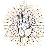 Vintage Hands. Hand drawn sketchy illustration with mystic and o. Ccult hand drawn symbols. Palmistry concept. Vector illustration. Spirituality, astrology and stock illustration