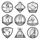 Vintage Hands Labels Set. With mobile touch handshake greeting salute rock goat peace praying instrument cigaro wineglass hold gestures isolated vector Royalty Free Stock Photo