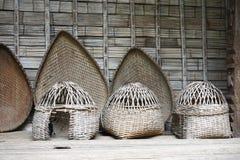 Vintage handwoven bamboo baskets in Hanoi, Vietnam Royalty Free Stock Photo