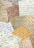 Vintage handwriting. Collage of old handwriting samples royalty free stock photos