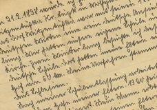 Vintage handwriting. From family chronicle stock image