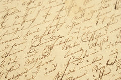 Vintage handwriting. Old letter with vintage handwriting Stock Photos