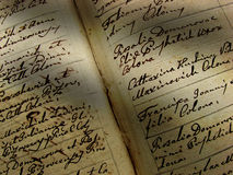 Vintage handwriting. Sun rays falling on a vintage handwriting Royalty Free Stock Photography