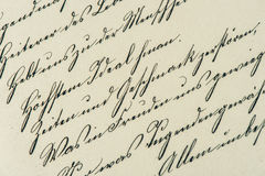 Vintage handwriting. antique manuscript. aged paper. Background. retro style toned picture Royalty Free Stock Photo